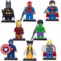 Kit 8 Mini Figuras Marvel Super Heroes Compativel Com Lego