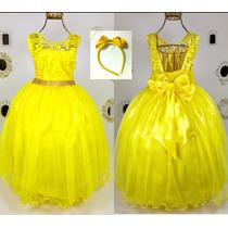 e830361300 Vestido Regata Amarelo Bela E A Fera 4 Ao 12 C  Luva  tiara à venda ...