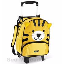 Mochila Escolar Tiger Ou Cat Criança Rodinhas Alça Retrátil