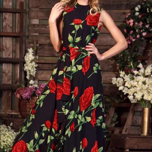 2342339384 Vestido Longo Festa Floral Preto Com Vermelho Cód 39c. R  179