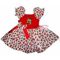 Vestido Festa Moranguinho Baby Estampado Collant 1 A 4 Anos