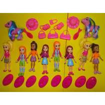 8 Bonecas Polly E 20 Acessorios Disney Barbie Monica Mickey