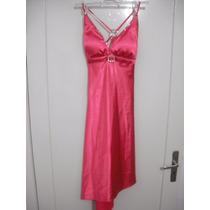 Vestido Rosa Cetim Com Echarpe E Bolsa Tam Pp Ou Infantil