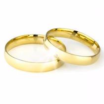 Par Alianças Casamento Noivado Baratas Banhadas Ouro 18k 3mm