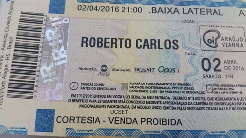 Raro Ingresso Show Roberto Carlos