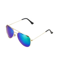 Óculos De Sol Feminino Aviador Lente Espelhada Azul Dourado