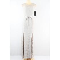 Betsy & Adam Cap Sleeve Lace Vestido Prata Metálico