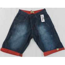 Bermuda Masculina Jeans+cinto E Boné De Brinde Varias Marcas