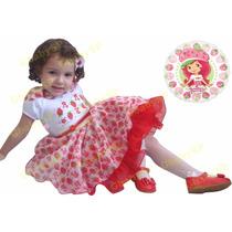 Vestido Fantasia De Festa Infantil Moranguinho Brinde Tiara