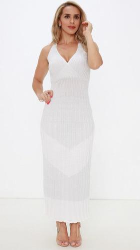 da783763bb Vestido Exclusiva Tricô Branco Lurex Pv19