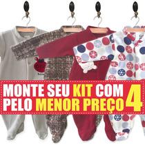 Kit 4 Macacão Inverno Soft Para Bebê Rn, P, M, G E Gg