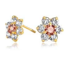 Bling Jewelry Alexandrite Screwback Cz Flor Studs 14k Ouro