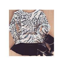 Blusa De Tricot Trico Leopard Color Animal Print Feminina