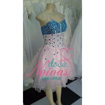 Vestido Debutante Rosa Com Azul Curto Pronta Entrega Festa