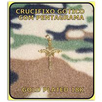 Pingente Crucifixo Gótico Pentagrama Prata Ouro 18k - 4,5 Gr