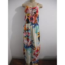 Vestido Longo Colorido Florido Tam P ( Veste Até M)excelente