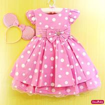 Vestido Infantil Festa Minnie Rosa Luxo Com Tiara