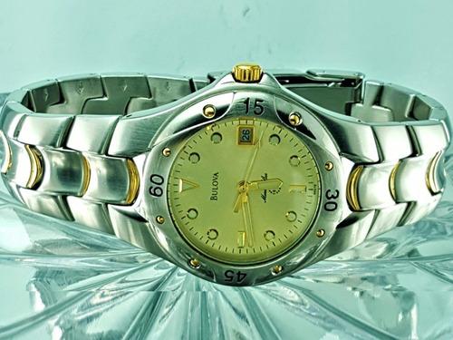 ce9d84135a9 Relógio Bulova 98g78 Marine Star Prata E Dourado Banho Ouro