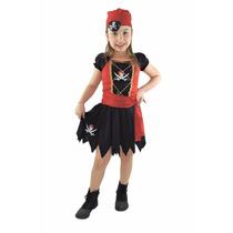 Fantasia De Pirata Do Caribe Feminina Infantil, Kit 4 Peças