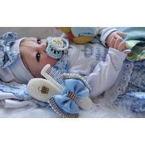 Bolsa Maternid Bebê Reborn Boneca Barata Menina Azul Loira