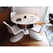 Mesa Jantar Saarinen Redonda 90 Cm Mármore Branco Extra