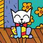 Quadro Pop Art Gato Estilo Romero Brito 30x30cm