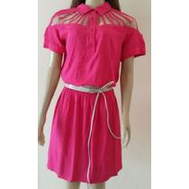 Vestido Em Viscose Pink E Tule