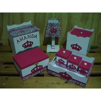 Kit Higiene Bebê 8 Peças Princesa Menina Rosa Mdf + Brinde