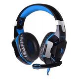 Fone De Ouvido Gamer Kotion G2000 Black E Blue Com Luz Led