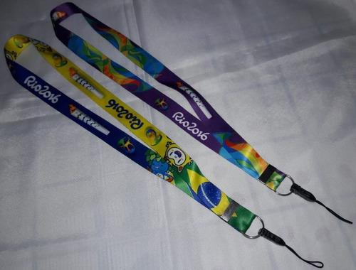 Lote C/2 Cordão Fita Olimpíada Rio 2016 Mascote Tom Vinícius