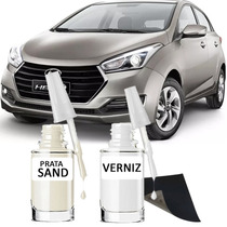 Tinta Tira Risco Automotivo Hyundai Hb20 Cor Prata Sand