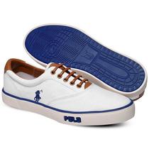 Tênis Polo Sneaker Masculino Branco E Azul
