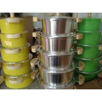 Jogo Panela 5 Unidade Aluminio Fundido Luxo Coloridas 5 Mm
