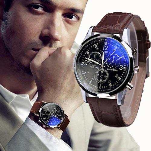 a0f450daa47 Relógio Luxo Masculino Yazole Pulso Social Pulseira Couro - R  45 en ...