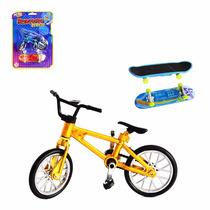Bicicleta De Dedo Cromada E Skate Com Luz De Led Lançamento!