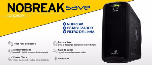 No-break Nobreak 600va Bivolt Pc Com Estabilizador + Filtro