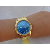 Lindo Relógio Oniret Dourado Fundo Azul No Leilão De 1,00