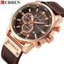 Relógio Curren 8291 Funcional Pulseira De Couro Cronógrafo Original