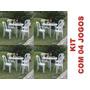 Kit 04 Jogos De Mesa Redonda Com Cadeiras Plásticas Eventos