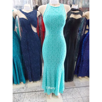 Vestido De Festa Longo Feminino De Renda Azul Tiffany