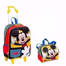 Mochila Escolar Rodinhas Mickey Mouse + Lancheira - Sestine