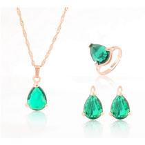 Jóias Verde Cristal Pigente E Colar E Brinco