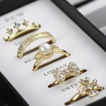 Kit 5 Anéis Presenteável Coroa Coroinha Meia Aliança Laço