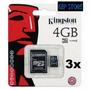 Kit 3 Cartão Memória Micro Sd 4 Gb Lacrado Original Kingston