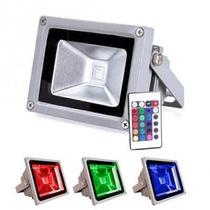 Refletor Com Controle Remoto Holofote Led 10w Rgb Colorido