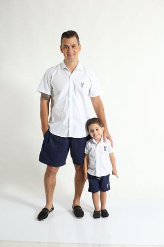 2b0dc77364 Kit Camisas Social Tal Pai Tal Filho Manga Curta Branca