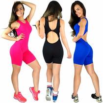 Macaquinho Liso Feminino Fitness Suplex Academia Ginástica
