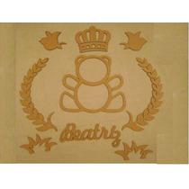Decoração Ursinho Coroa Principe Princesa Mdf Quarto Bebe