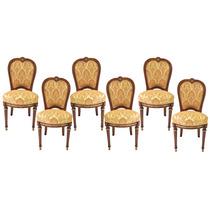 Conjunto De Cadeiras Estilo Clássico Antigo Marchetada