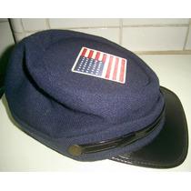 Quepe Americano Lona Azul Boina Confederados Americana